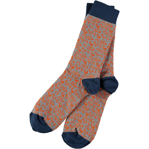 Men's Orange Leopard Print Cotton Ankle Socks