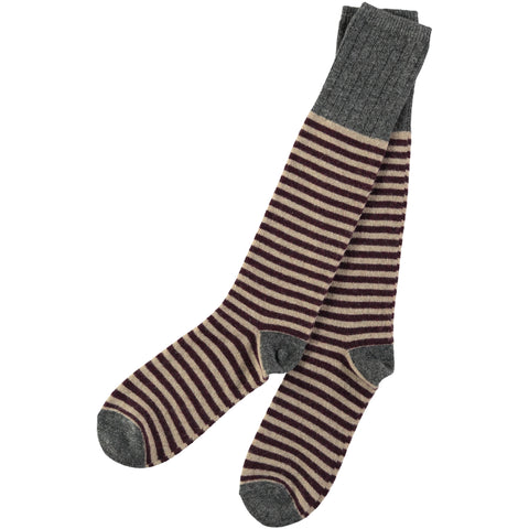 Men's lamsbwool mushroom and red stripy knee socks
