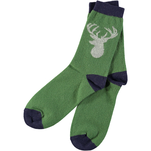 Men's Green Stag Lambswool Ankle Socks