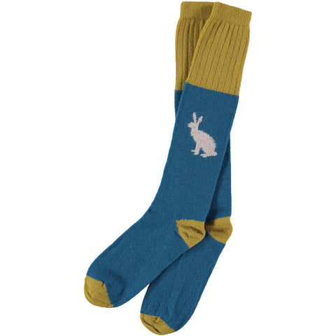 men's lambswool teal rabbit socks