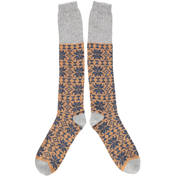 KNEE SOCKS - lambswool - men's  - fair isle - navy