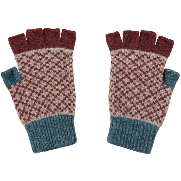 mens dark red fingerless gloves