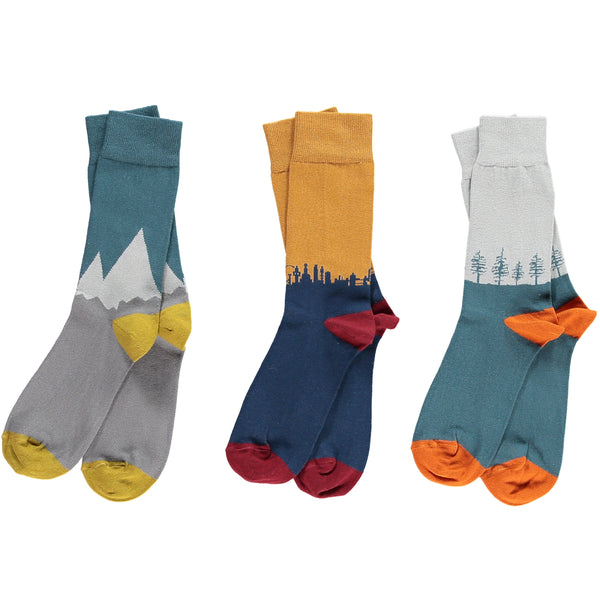 Mens cotton ankle socks landscape bundle