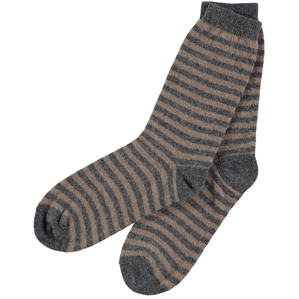mens grey stripe lambswool ankle sock