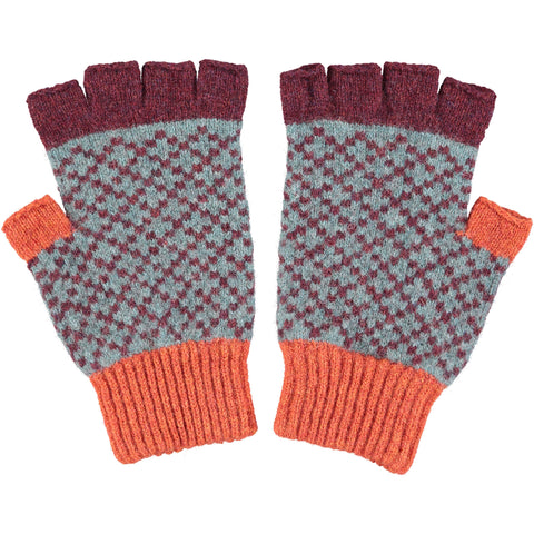 FINGERLESS GLOVES - lambswool - men's - cross - aubergine & rust