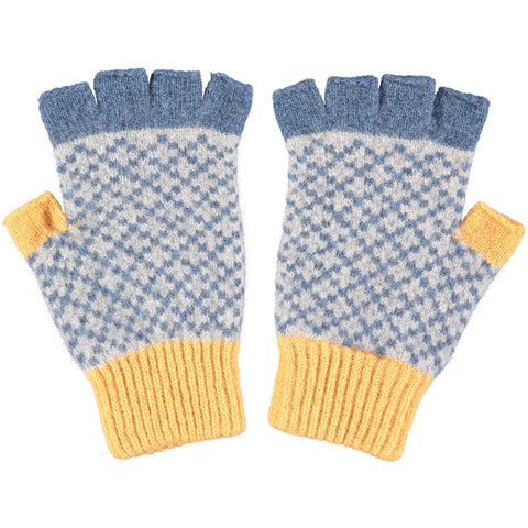 Men's Denim & Gold Fingerless Lambswool Gloves