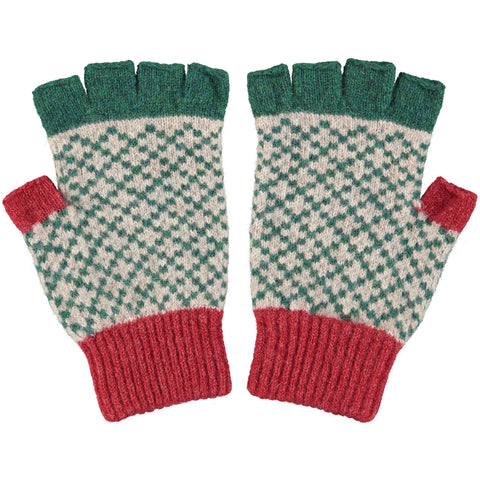 FINGERLESS GLOVES - lambswool - men's cross - fir green & red