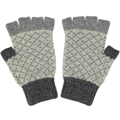 Men's Grey & Sage Green Fingerless Lambswool Gloves