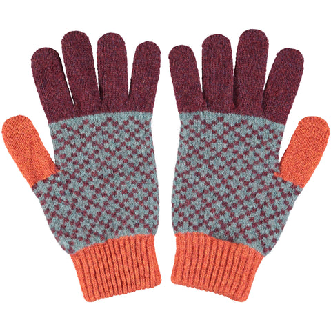 GLOVES - lambswool - men's - cross - aubergine & rust