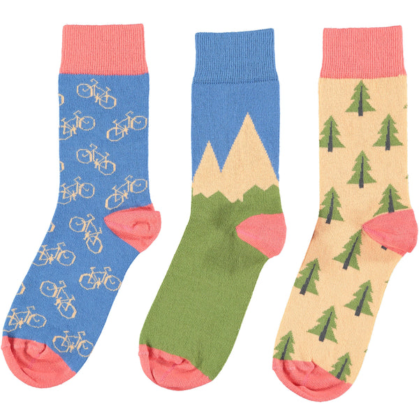 Mountian Bike Collection - Women's Organic Cotton Ankle Sock 3 Pack - SAVE 20%