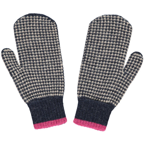 navy check lambswool mittens