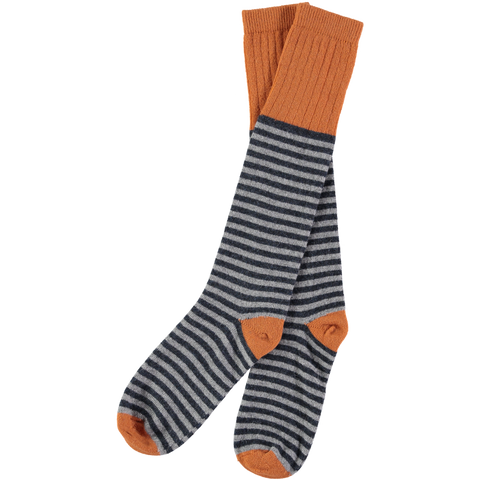 mens navy stripe lambswool socks