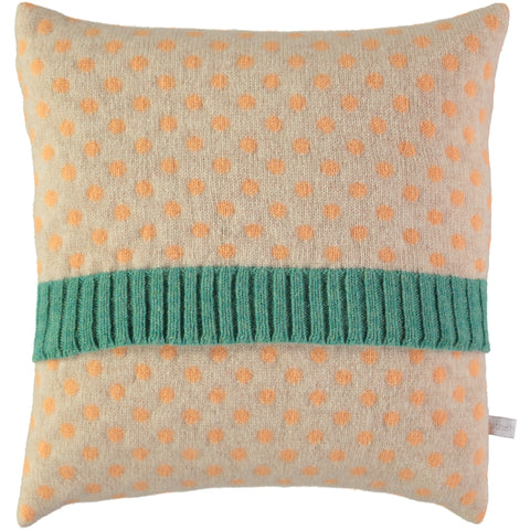 peach dot lambswool cushion