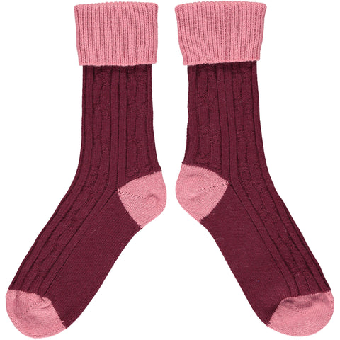 Red & Pink Cashmere Soft Socks