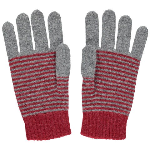 catherine tough red stripe lambswool gloves