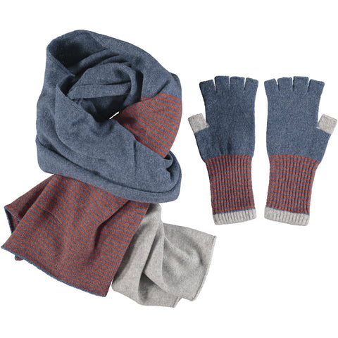 Lambswool Fingerless Glove & Scarf Set - Denim Stripe