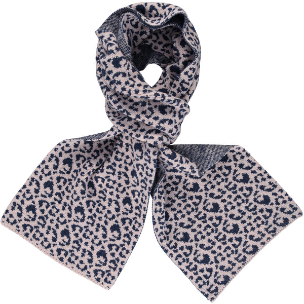 Light Pink & Navy Leopard Print Big Lambswool Scarf