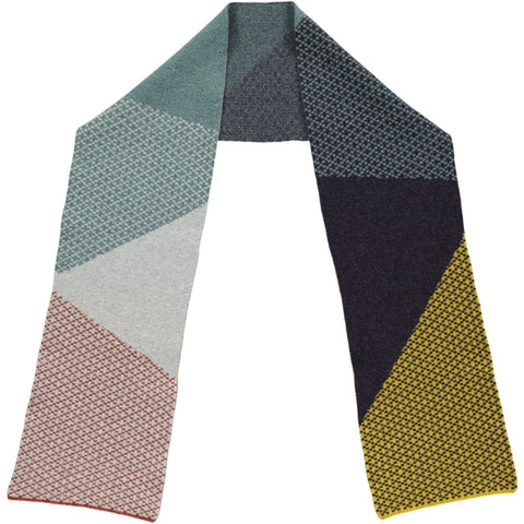 Cross Block Grey, Sage & Yellow Lambswool Scarf