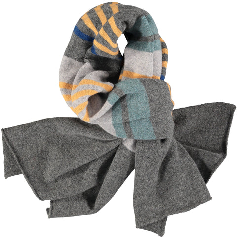 Grey & Golden Multi Stripe Wide Lambswool Scarf
