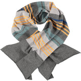 SCARF - lambswool - fine knit - stripes - dark grey/gold_