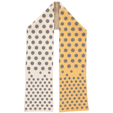 Big Spot Little Spot Grey & Yellow Lambswool Scarf