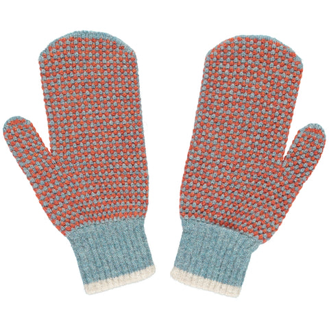 sea green check lambswool mittens
