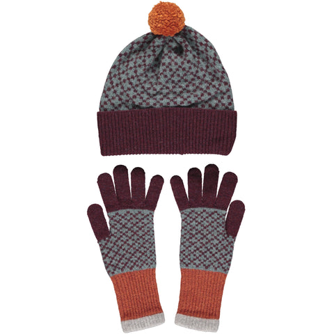 Lambswool Hat & Glove Set - Aubergine Cross