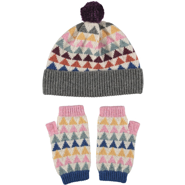 Lambswool Hat & Wrist Warmer Set - Triangles