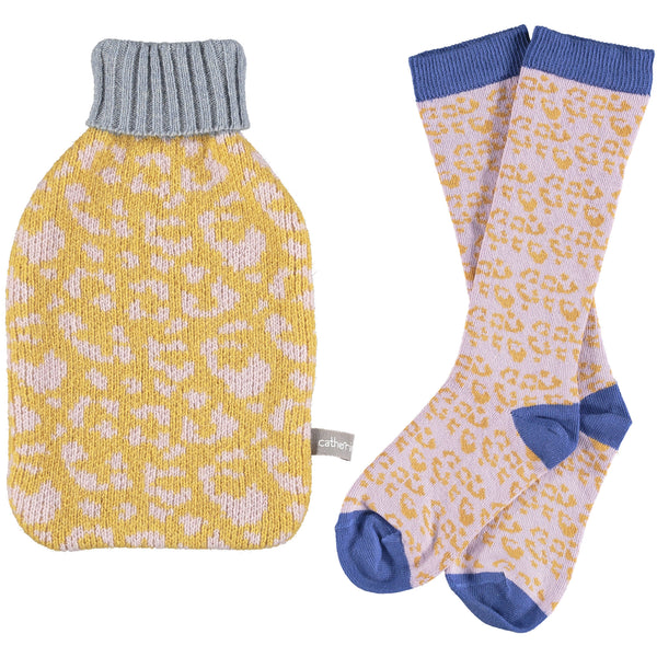 Kids' Lambswool Hottie & Cotton Sock Set - Leopard  Print