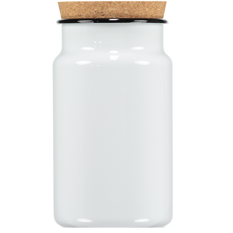 white enamel storage jar with a cork
