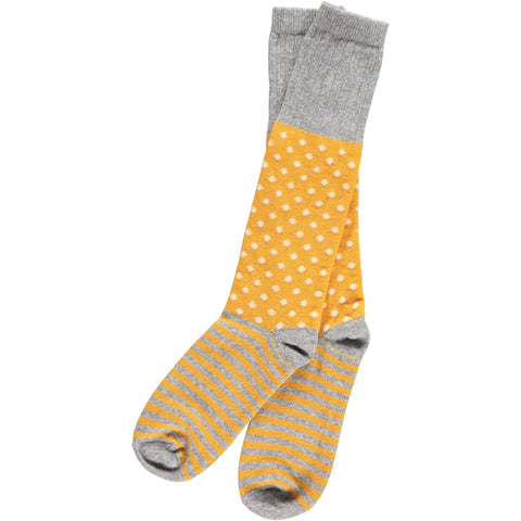 yellow dots and stripes catherine tough knee socks