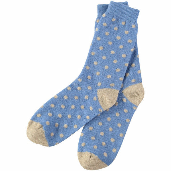 Women's Blue Dot Lambswool Ankle Socks