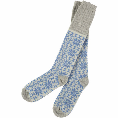 Women's Blue Fair Isle Lambswool Knee Socks