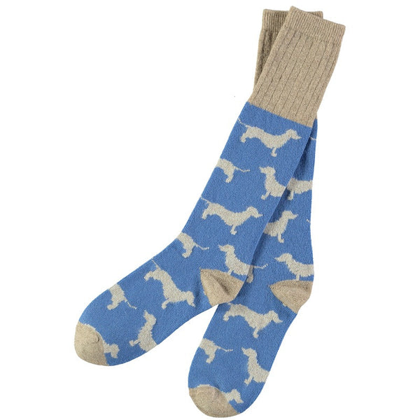 women's blue sausage dog lambswool knee socks