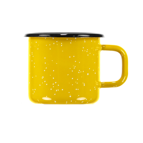 bright yellow enamel mug