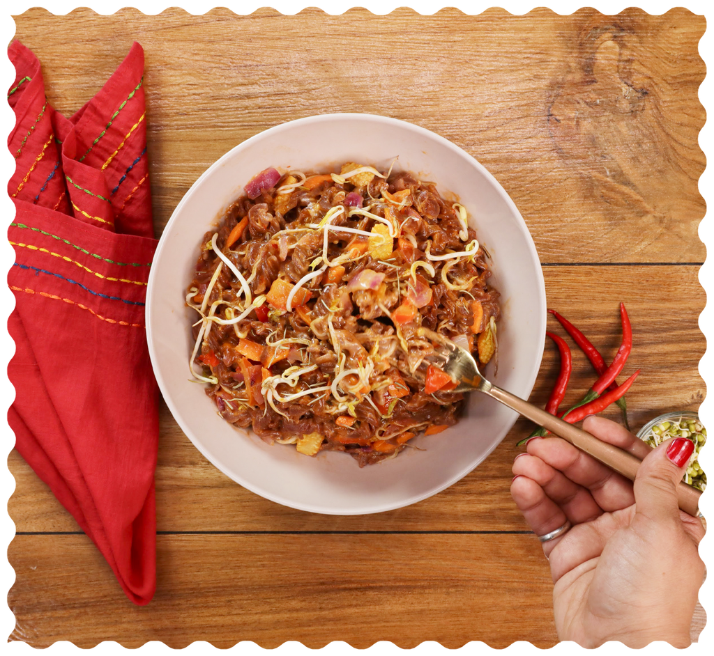 Red Rice Pasta in Thai Curry