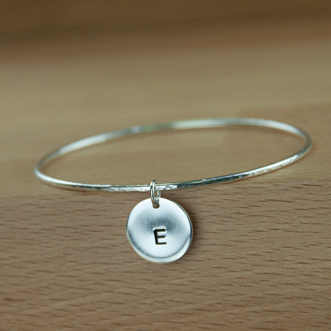 Sterling silver personalised Disc charm bangle