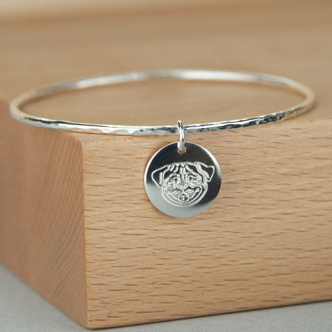 Midi Sterling Silver Bangle with Pug Disc Charm