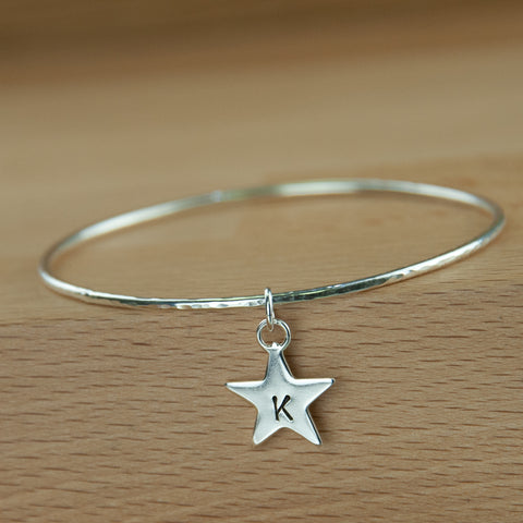 Sterling silver personalised Star charm bangle