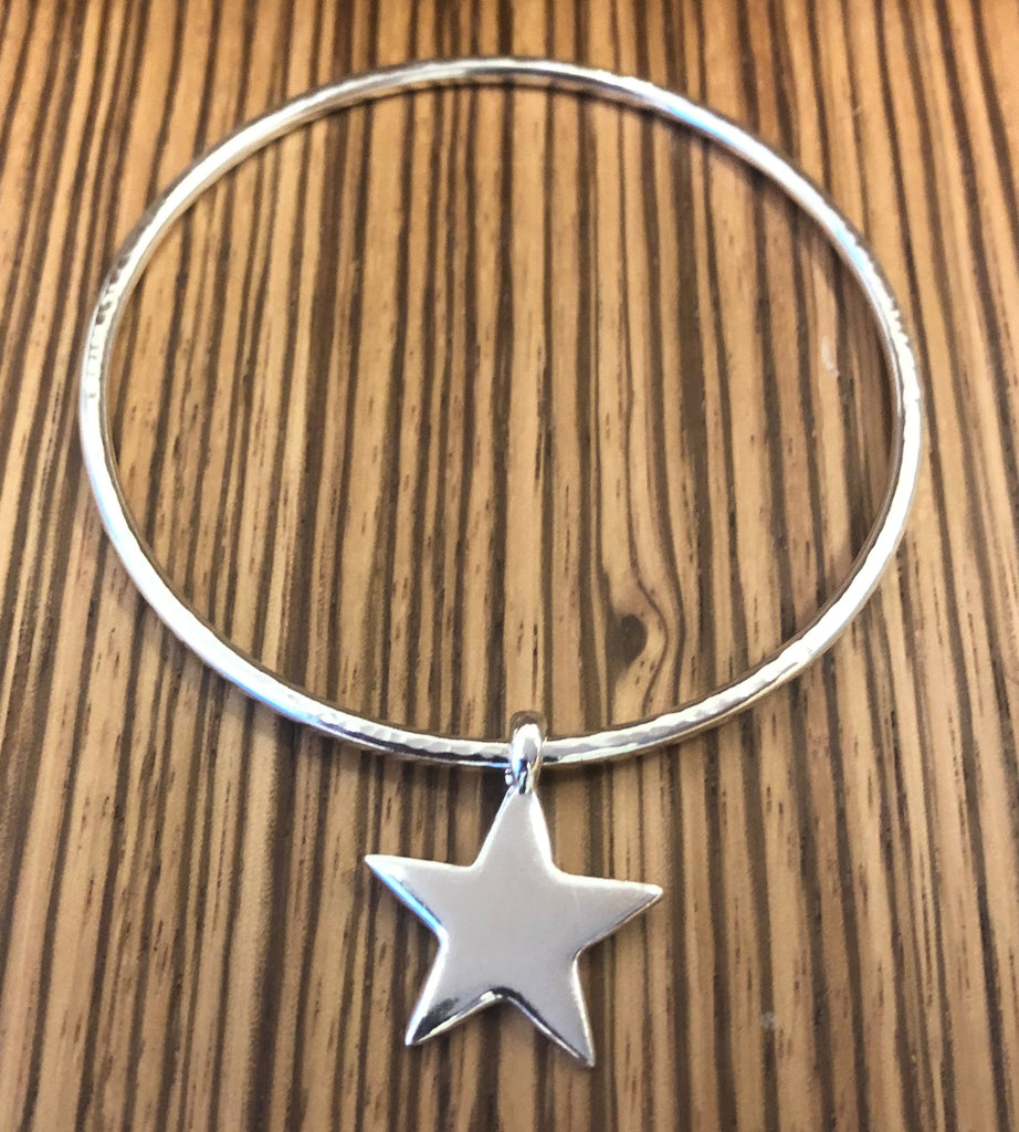 Sterling Silver hammered bangle with Star charm