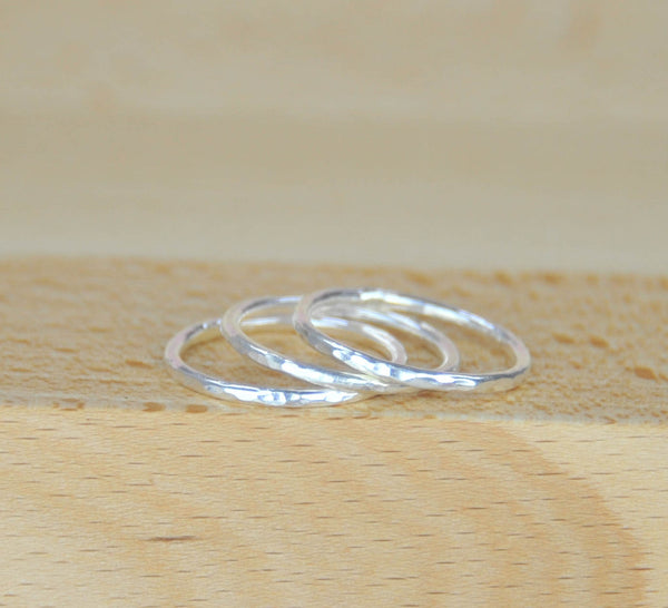 Set of 3 Handmade Sterling silver stacker stacking rings 925