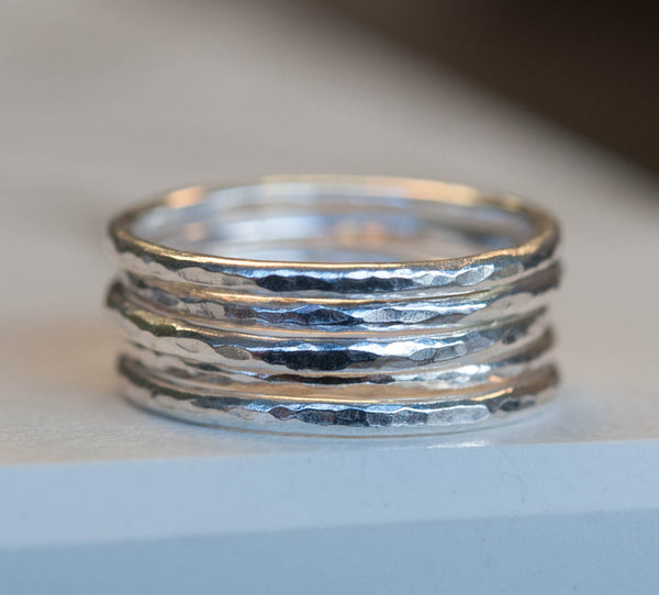 Sterling silver stacking stacker rings set of 5