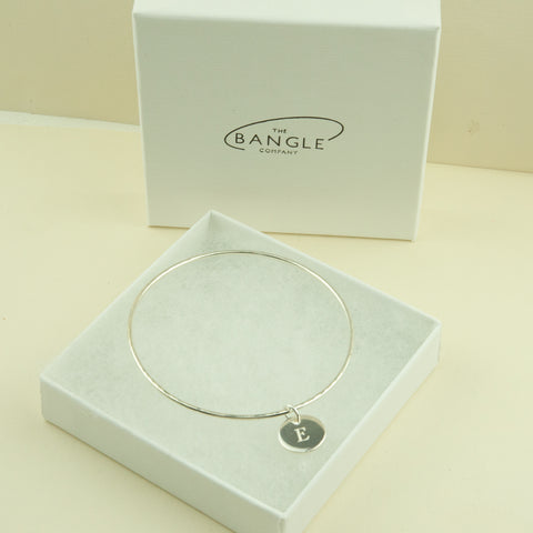 Skinny Engraved Disc Charm Bangle Engraved
