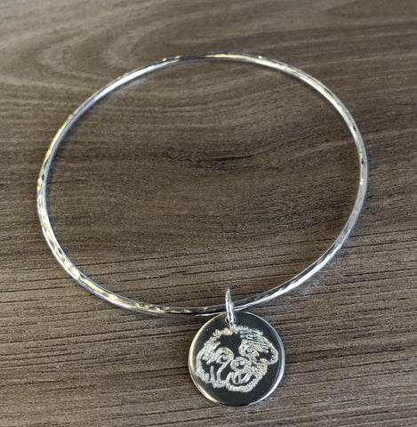 Midi Sterling Silver bangle with Shih Tzu Disc Charm