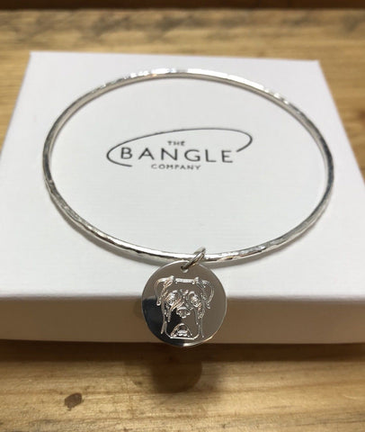 Midi Sterling Silver bangle with Boxer Disc Charm