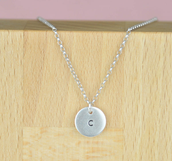 silver engraved disc necklace