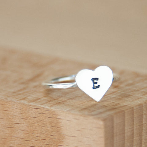 Handmade skinny personalised heart stacker ring