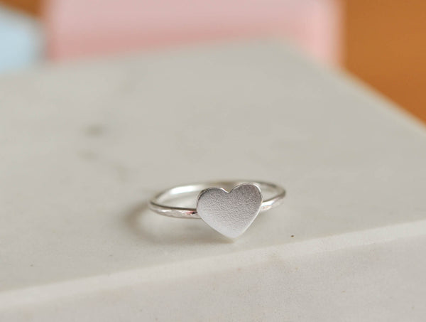 skinny silver heart stacker ring stacking