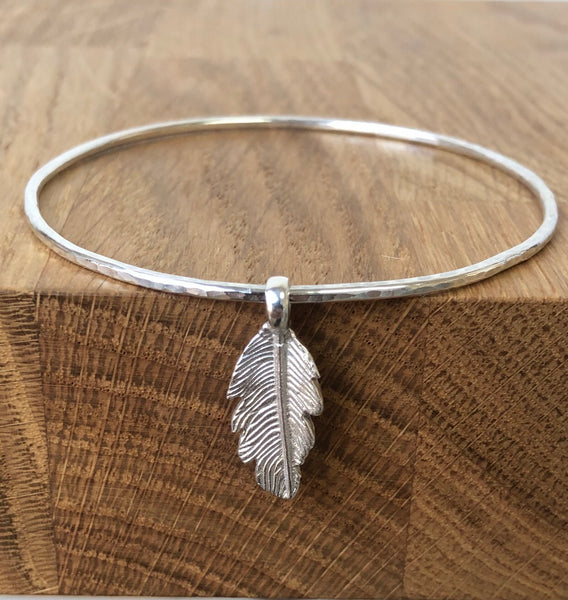 Feather Sterling Silver Bangle Bracelet by The Bangle Company Bespoke Handmade in the UK