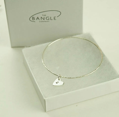 Skinny Heart charm bangle